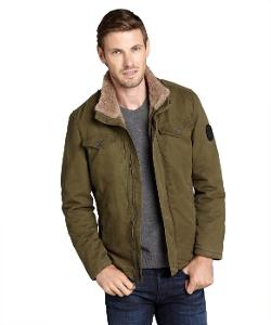 Buffalo Jeans  - Olive Cotton Zip Front Sherpa Lined Jacket
