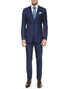 Ermenegildo Zegna  - Rope-Stripe Wool Suit