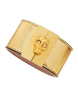 Alexander McQueen  - Skull-Clasp Leather Cuff Bracelet