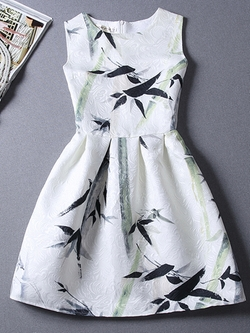 Romwe - Bamboo Leaves Print Jacquard A-Line Dress