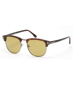 Tom Ford  - Henry Shiny Half-Rim Sunglasses