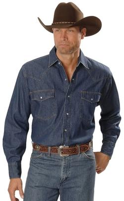 Ely Cattleman  - Denim Western Shirt