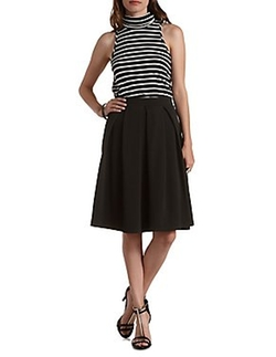 Charlotte Russe - Textured & Pleated Full Midi Skirt