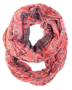 Peach Couture  - Sunflower Paisley Print Infinity Loop Scarf