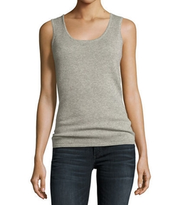 Neiman Marcus Cashmere Collection  - Cashmere Scoop-Neck Tank Top