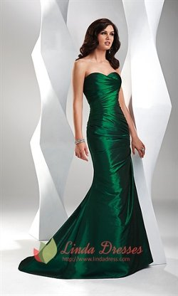 Linda Dress - Elegant Sweetheart Taffeta Emerald Green Evening Gown