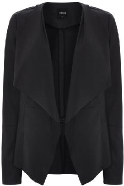 Oasis - Black Pu Waterfall Drape Coat