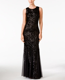 Calvin Klein  - Sequined Sleeveless Mermaid Gown