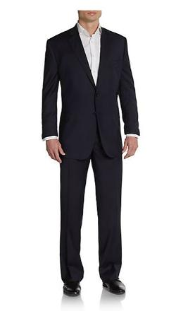 Saks Fifth Avenue Black  - Classic-fit Striped Wool & Silk Suit