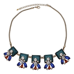 Mixit - Multicolor Stone & Crystal Statement Necklace