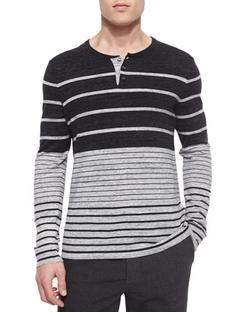 Vince  - Striped Long-Sleeve Henley Shirt