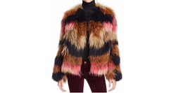 Meteo by Yves Salomon  - Striped Fur Jacket