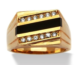 Palm Beah Jewelry - Neno Buscotti Onyx And Crystal Accent Ring