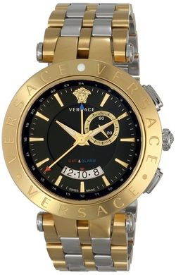 Versace  - V-Race GMT Alarm Stainless Steel Watch