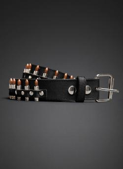 Black Heart - Canvas Bullet Belt