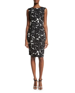 Oscar De La Renta   - Floral-Print Sleeveless Sheath Dress
