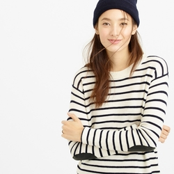 J. Crew - Striped Leather Panel Swing Sweater