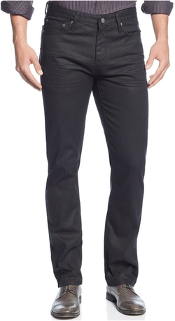 Alfani - Deker Straight-Fit Coated Black-Wash Jeans
