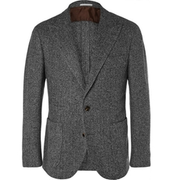 Brunello Cucinelli  - Unstructured Herringbone Cashmere-Blend Blazer
