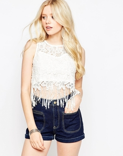 Parisian  - Crochet Lace Top With Fringing Trim