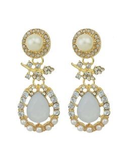 Romwe - Large Rhinestone  Drop Earrings