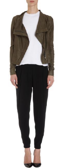 VINCE - Ultra Soft Leather Funnel Neck Jacket