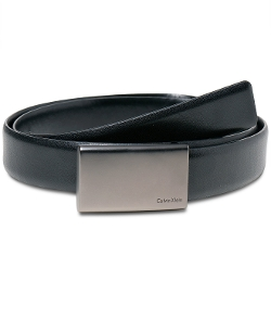 Calvin Klein - Gunmetal Plaque Buckle Dress Belt