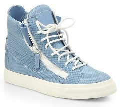 Giuseppe Zanotti S - nake-Embossed Leather High-Top Sneakers