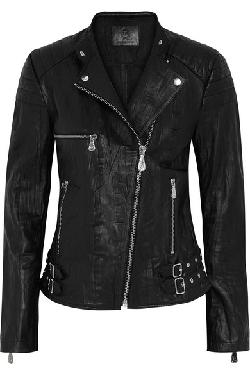 MCQ ALEXANDER MCQUEEN  - Crinkled-leather biker jacket
