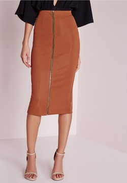 Missguided - Zip Front Ribbed Midi Skirt Rust