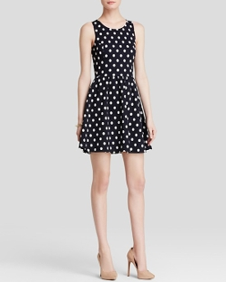 Aqua - Polka Dot Textured Dress