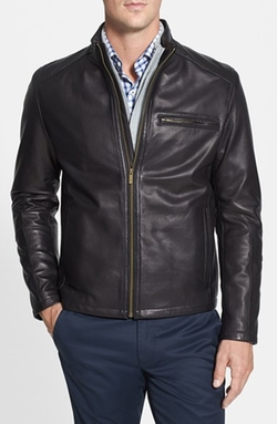 Cole Haan - Lambskin Leather Moto Jacket
