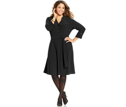 Charter Club  - Plus Size Belted A-Line Shirtdress