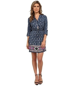 Angie - Border Print Prussian Blue Shirtdress