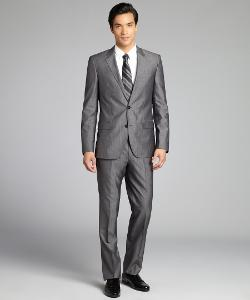HUGO BOSS  - Dark Grey Crosshatch Print Wool-Silk Blend Two Button Suit With Flat Front Pants