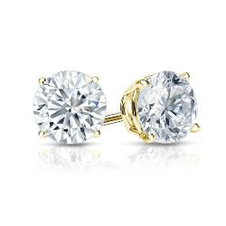 PARIKHS - Round Cut Diamond Stud Premium Quality in 14k Yellow Gold