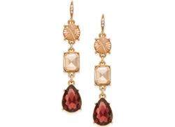 ABS by Allen Schwartz  - Gold-Tone Triple Stone Linear Earrings