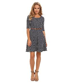 Yumi  - Polka Dot Skater Dress With Contrast Belt