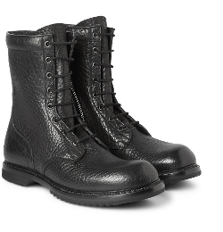 Rick Owens - Textured-Leather Combat Boots