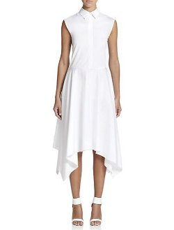 Adam Lippes  - Collared Handkerchief-Hem Dress