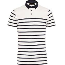 River Island - White Stripe Polo Shirt