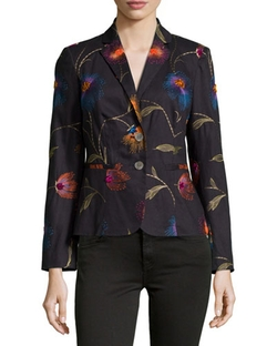 Paperwhite - Floral-Embroidered Two-Button Jacket