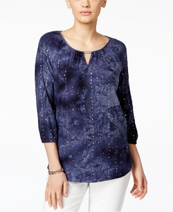 JM Collection  - Embellished Tie-Dyed Blouse