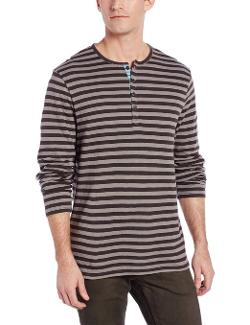 Perry Ellis  - Long Sleeve Striped Henley Shirt