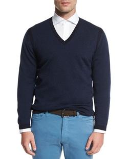 Ermenegildo Zegna - Textured Cashmere-Blend V-Neck Sweater
