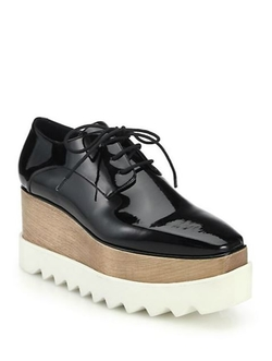 Stella Mccartney - Wood & Rubber-Platform Faux Patent Leather Oxfords