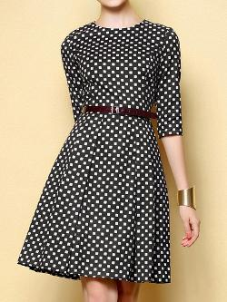 Choies - Dot Print Mid Dress with Belt