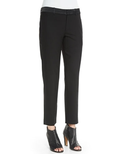 Vince - Satin-Striped Tuxedo Trousers, Black