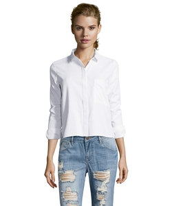 Wyatt - White Herringbone Cotton Blend Hi-Low Hem Button Front Blouse