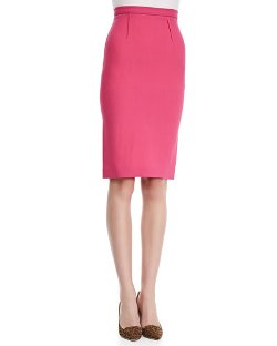 Roland Mouret   - High-Waist Wool Crepe Pencil Skirt